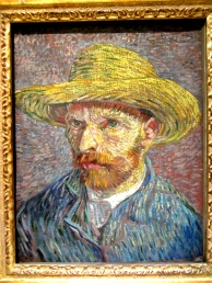 Classic Van Gogh self portrait & swirling landscape.