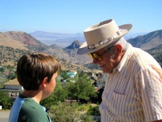 Jeremiah & Grandpa Harry seeing eye to eye in Virginia City, NV