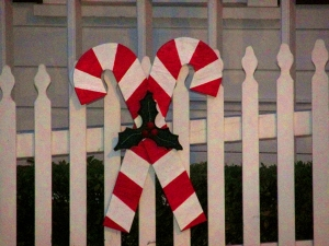 Our little town's wooden candy canes painted merry & bright!