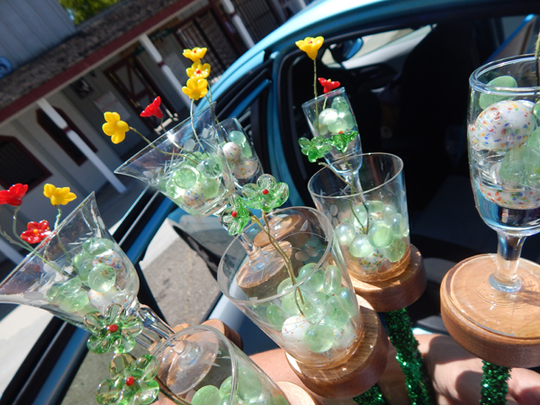 Glass Bouquet from car to display table!