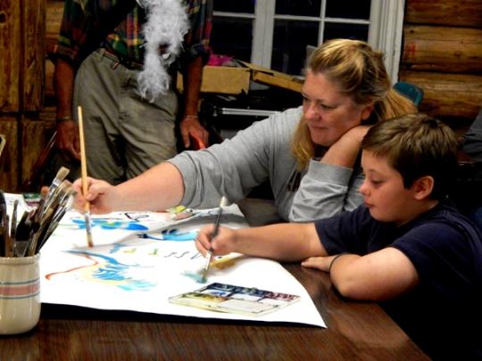 Artist joyful Dena shared her watercolor supplies and face paint talents ~ woo hoo!